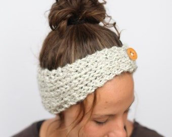 Cozy Knit Ear Warmer for Women with Wooden Button