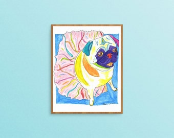 Pug Art Print, Dog Art, Pug Gift, Gifts For Dog Lovers, Gifts Under 20, Pug Decor, Pug Wall Art, Pug Painting, Pug Illustration Pug Drawing