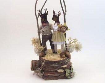 Vintage Inspired Spun Cotton Woodland Deer Wedding Cake Topper Figure OOAK