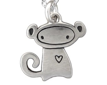 Tiny Monkey Necklace - Sterling Silver Monkey Pendant