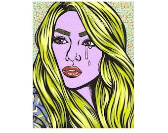 Blonde Crying Comic Girl Print