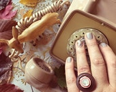 Vintage Button Ring - brown + pink + pearl white