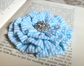 Sky Blue Seersucker Flower Hair Clip.Flower Brooch.Pin.Stripes.Baby Blue.Flower headpiece.bridesmaid.Light Blue Seersucker.Blue White flower
