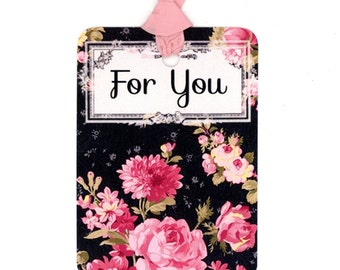 Pink Roses Gift Tags , Black and Pink , For You Tags , Shabby and Chic , Pink Flowers , Pink Seam Binding