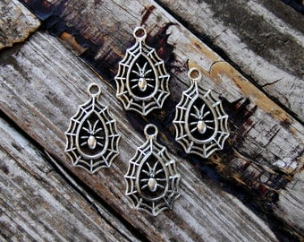 4 pcs . Spiderweb Charms . Halloween Charms . antique silver tone . Spider Web Charms . Halloween Pendants . Party Favors . Tear Drop Charms