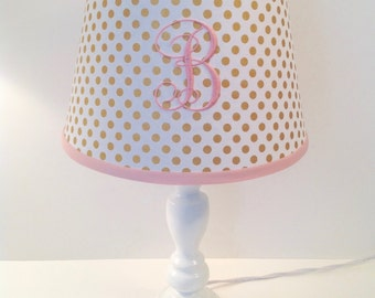 Spot On Gold Metallic Polka Dots Lamp Shade (other colors for monogramming available)