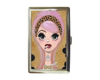 metal carrying / cigarette case SMOKING OUIJA by Megan Besmirched big eyed art