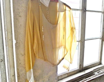 1920s Yellow Chiffon Beaded Blouse Medium Size