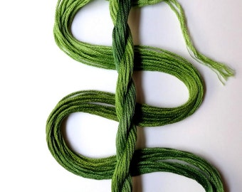 """Embroidery floss """"Leafy"""" hand dyed cotton"""