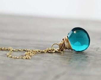 Teal Gemstone Necklace, Gold Fill Necklace, Wire Wrap Pendant Necklace, Quartz Drop Necklace, Dainty Necklace, Delicate Blue Necklace
