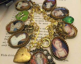 King Henry the 8th and Wives Charm Bracelet, King Henry Bracelet, King Charm Bracelet, King Henry, Gold Charm Bracelet, Gift for Her