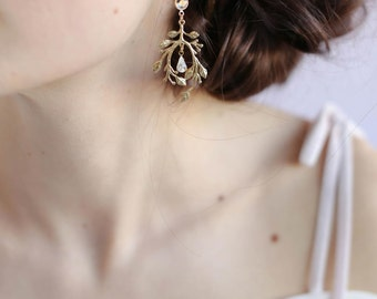 Bridal earrings - Gilded garden earrings - Style 667 - Made to Order