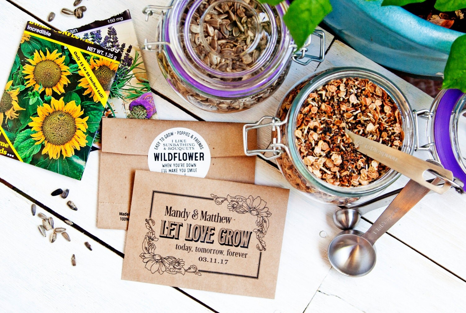 Seed Packet Wedding Favors Let Love Grow Personalized Bag