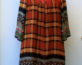 Seventies style vintage tunic top, plaid floral patchwork Bohemian top, blouse, Medium woman misses, made in Japan mini dress Hippie top