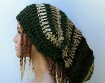 Very slouchy dread tam, pure hemp Hippie Bohemian slouchy beanie, dreadlocks head gear, woman or man extra slouchy hat, earthy slouchy hat
