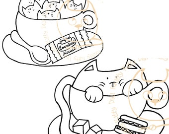 Digi Stamp Instant Download. Kittaccino and Cattaccino (duo) - Knitty Kitty Digis No. 30&31