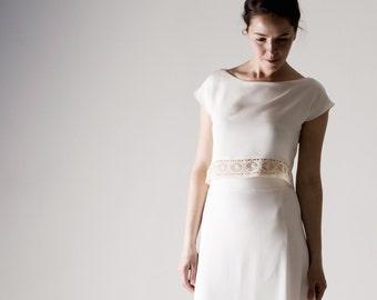 Wedding top, Wedding separates, Silk Crop top, White top, Simple wedding dress, Reception dress, Casual wedding dress, Alternative wedding