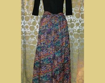 Vintage 1970's Long Colorful Floral Print Maxi Skirt Large, 70's Hippie