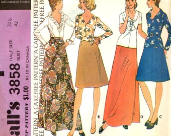 McCall's 3858 Blouse Set & A Line Skirts Half Size 20 1/2 Bust 43 VINTAGE 1970s ©1973