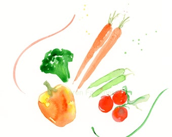 "Original watercolor painting of summer produce: ""Fresh Veggies"""