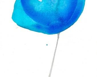 """Blue watercolor flower art print:  """"Fleur Bleue"""""""