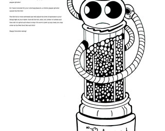 Coloring Art Print Robot #2 The Hot Bot 11x17 Poster Art For You To Color and Frame with FREE Markers