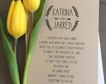 Rustic Arrow Wedding Invite - Kraft Wedding Invitation, Custom Rustic Invite, Rustic Wedding, Boho Chic Wedding, Kraft Invite