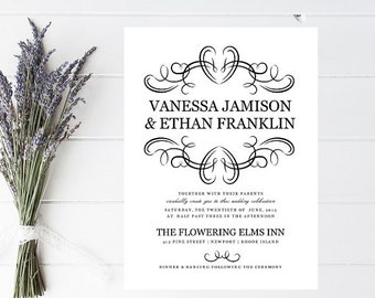 Elegant Flourish Wedding Invitations - Black and White, Traditional, Classy Wedding Invitaiton