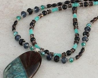 Bold Dramatic Black Blue Teal Double Strand Necklace, Smoky Quartz, Druzy Quartz Agate Pendant, Jade, Black Onyx, Black Agate NMOR