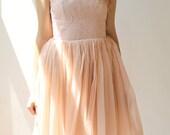 Sample SALE - Short pink chiffon and lace dress