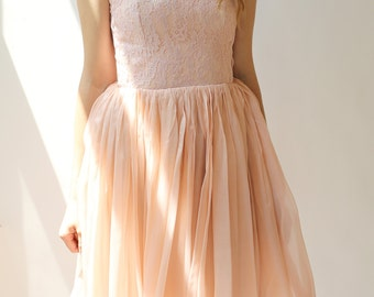 Sample SALE - Short pink chiffon and lace dress