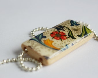 Paradise Bamboo Tile Pendant Necklace - Multi Colored - Red Gold Yellow Blue and Green - Floral Pendant Necklace - by Gazzu