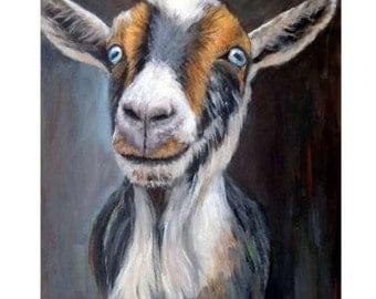 Nigerian Dwarf Goat Farm Art print, Goat Art, by Dottie Dracos, Goats, Farm Animal Art, Goat Painting, dwarf goat