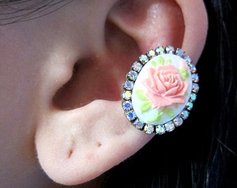 Choose Any One Of The Three Colors For Lovely Rose Ear Cuff Cameo Cuff Earring