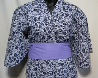 Vintage Japanese Yukata Kimono Robe Cotton Women's - Traditional Blues