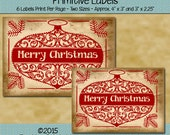 Instant Download - Digital Label Sheet - Merry Christmas - Printable PDF or JPG File