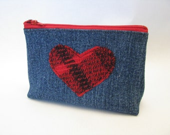 Denim Zipper Pouch with Red Plaid Heart Lumberjack Plaid Valentine