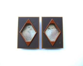 Japanese Door Pulls - Sliding Door Pulls - Pocket Door Pulls - Door Pull Set of 2 Rectangles Brown Orange (A53) Small Size