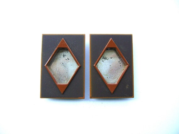 Japanese Door Pulls - Sliding Door Pulls - Pocket Door Pulls - Door Pull Set of 2 Rectangles Brown Orange (A53) Small Size