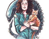 Come On, Cat - Ripley, Jones and Alien Poster Print 11x14