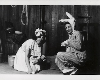 vintage photo 1950s Women Costume Dress as a Baby & Easter Bunny unusual Odd