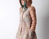 SALE Winter pink and blue coat, Womens pink and blue patterned coat, A-line coat with round hood, sz UK 10