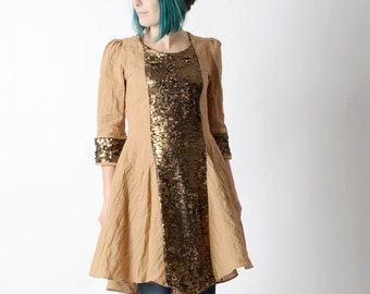 Beige sequined dress, Camel crumpled cotton dress with copper sequined yokes, size FR 38 / UK 10