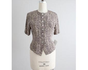 floral silk blouse   vintage silk blouse   button down blouse