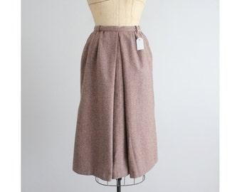 mauve wool skirt / midi skirt / tweed skirt