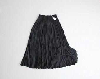 black silk crinkle skirt / maxi skirt / black silk skirt