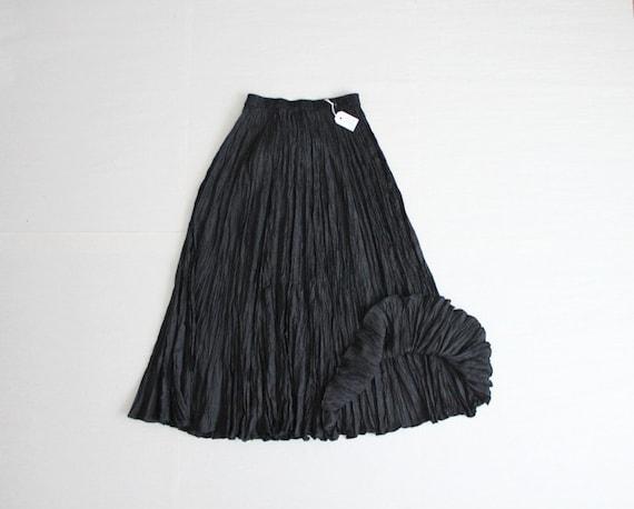 black silk crinkle skirt maxi skirt black silk skirt