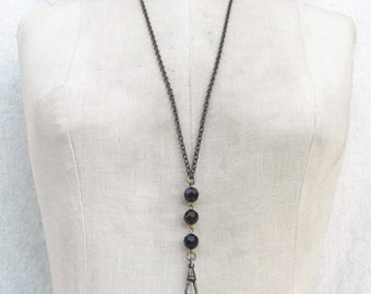 Vintage lanyard black *BULK DISCOUNT*  Rosary style chain pressed bead glass Necklace Charm holder supplies C15
