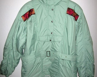 Moncler Ski Jacket - Vintage 80's - Women's Euro Size 40 (Approx. US Size 10) Mint Green with Embroidered Trim