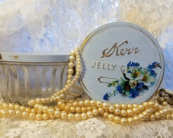 SALE two for one upcycled vintage kerr jelly glass jars shabby chic country blue cottage flowers glitter repurposed canning metal tin lids